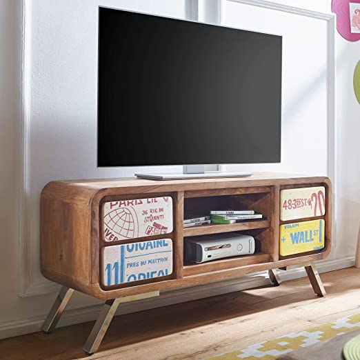 IKA - Mueble bajo para televisor (Madera Maciza de Sheesham, 130 x ...