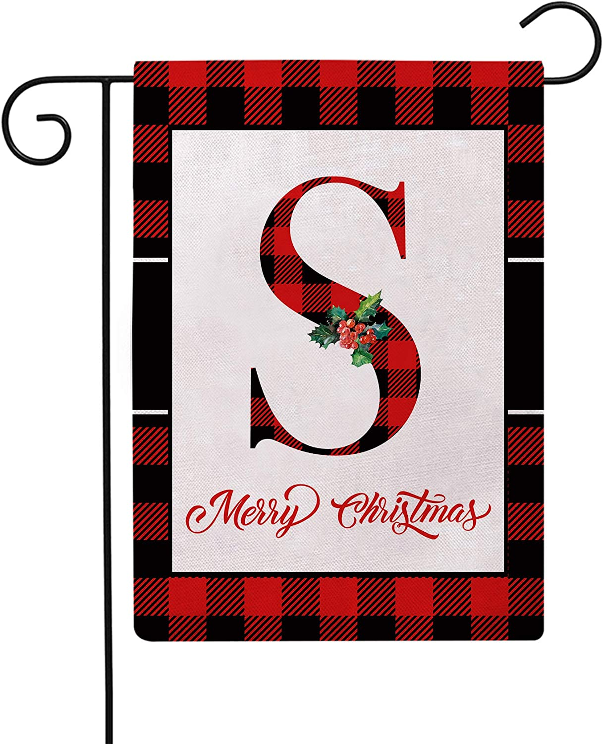 Christmas Plaid Decorative Garden Flags with Monogram Letter S Double Sided Farmhouse Red/Black Buffalo Plaid Winter Holiday Outdoor Garden Flags 12.5×18 Inch for House Garden Yard Patio Decor (S)