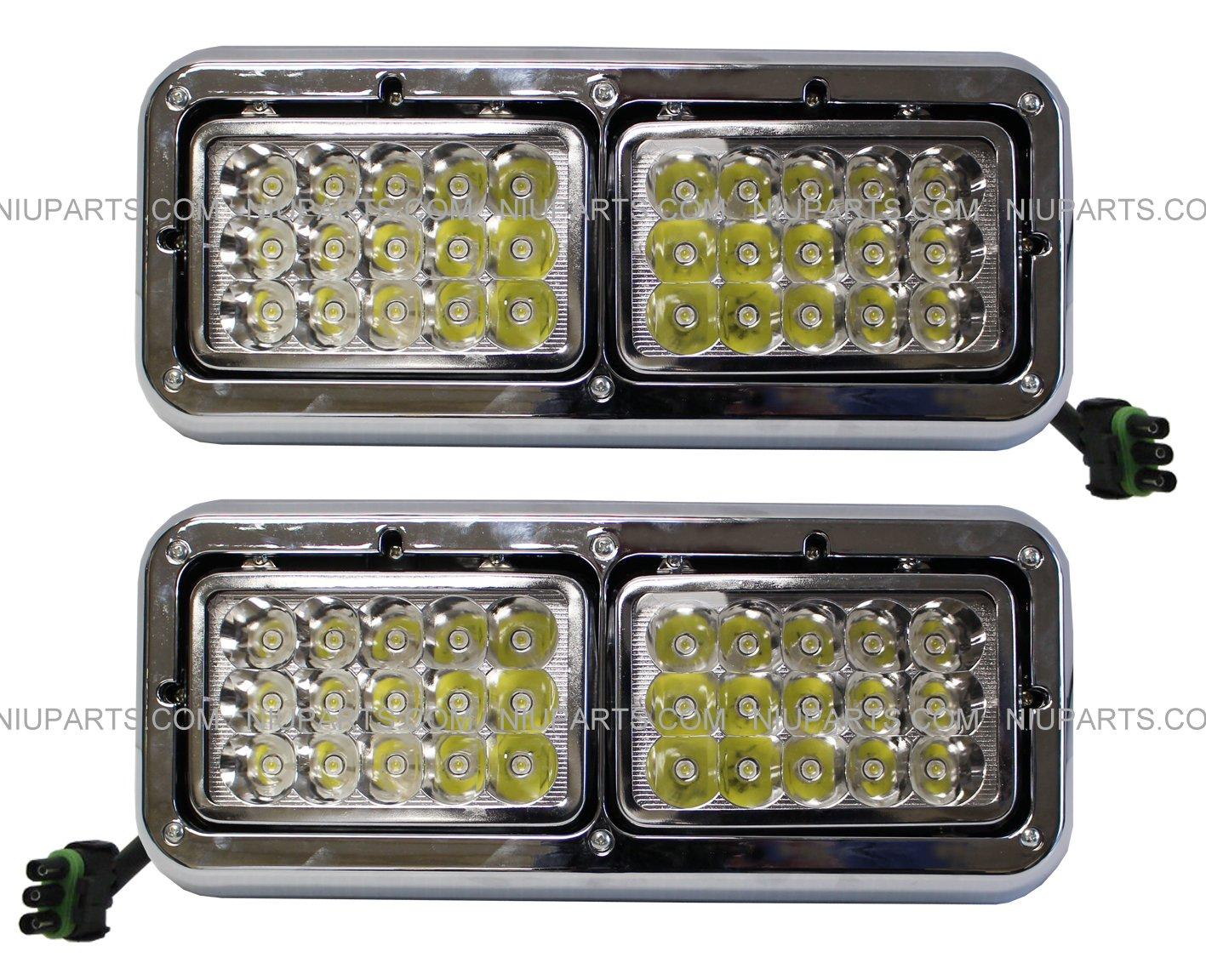 Amazon.com: LED Headlights with Bezel - LH and RH (Fit: Kenworth T400 T600  T800 W900B W900L Classic 120/132. Peterbilt 378 379.