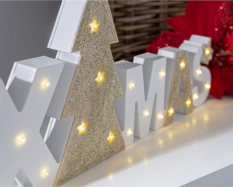 WeRChristmas Pre-Lit LED Christmas Letter Sign 38cm Multi-Colour