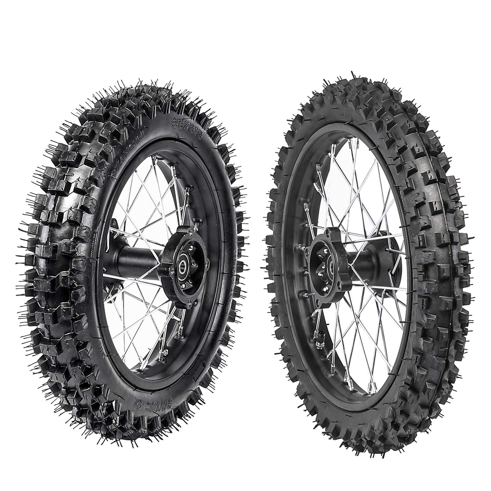ZXTDR 60/100-14 Front & 80/100-12 Rear Disc Brake Wheel Rim Tires With 15 Bearing for Pit Dirt Bike by ZXTDR