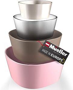 Mueller Mixing Bowls, 4-Piece Nesting Bowls Set, Food Prep Bowls, European Made, Microwave and Dishwasher Safe Mixing Bowl Set