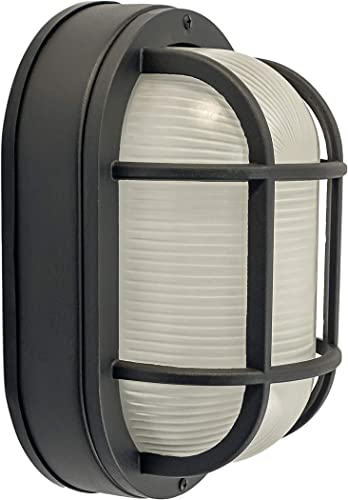 CORAMDEO Outdoor 10.6 Oval LED Bulkhead Light, Flush Mount for Wall or Ceiling, Wet Location, 125W 1200 lumens of Light from 14.5W of Power, Black Cast Aluminum with Frosted Glass Lens
