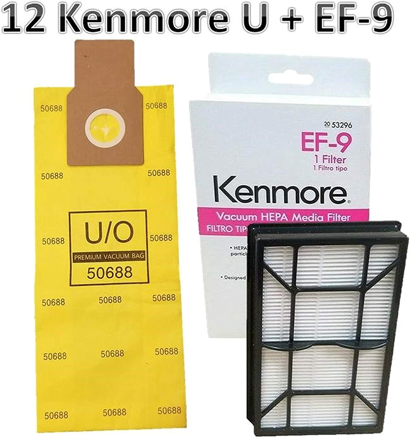 Casa Vacuums Replacement Kit for Kenmore Elite 31150 BU1018. 12 Style U Allergen Bags 50688 + 1 Sears Kenmore EF-9 Filter 53296. Kenmore Elite 31150 Bag and Filter Supply Kit.