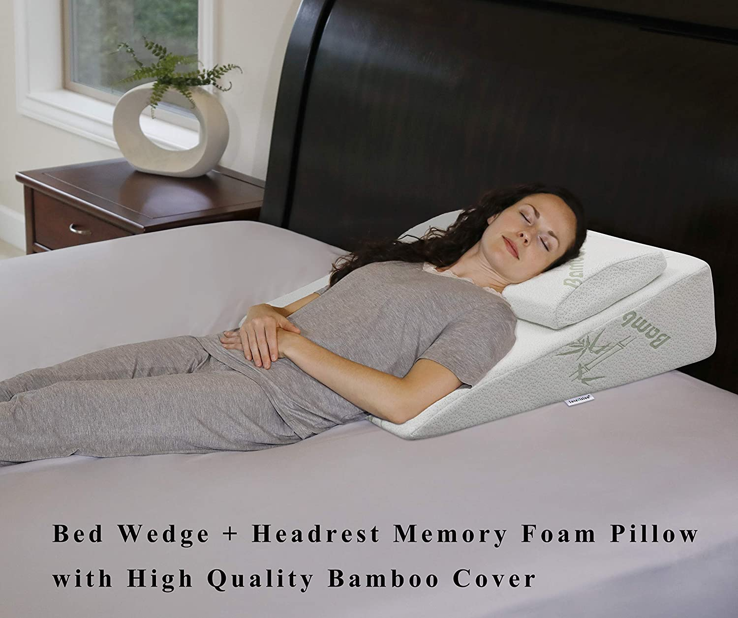 """InteVision Foam Bed Wedge Pillow (26"""" x 25"""" x 7.5"""") Headrest Pillow in ONE Package - 2"""" Memory Foam Top - Removable Bamboo Cover - Helps Relief from Acid Reflux, Post Surgery, Snoring: Health & Personal Care"""