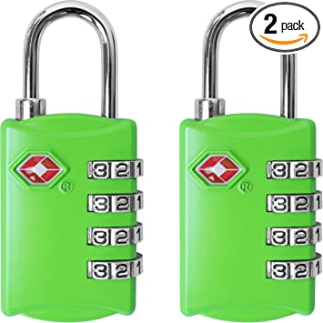 TSA Approved Luggage Locks with Steel Cable 4 Digit Combination Lock with Inspection Indicator Keyless Padlock for Suitcase Backpack Baggage
