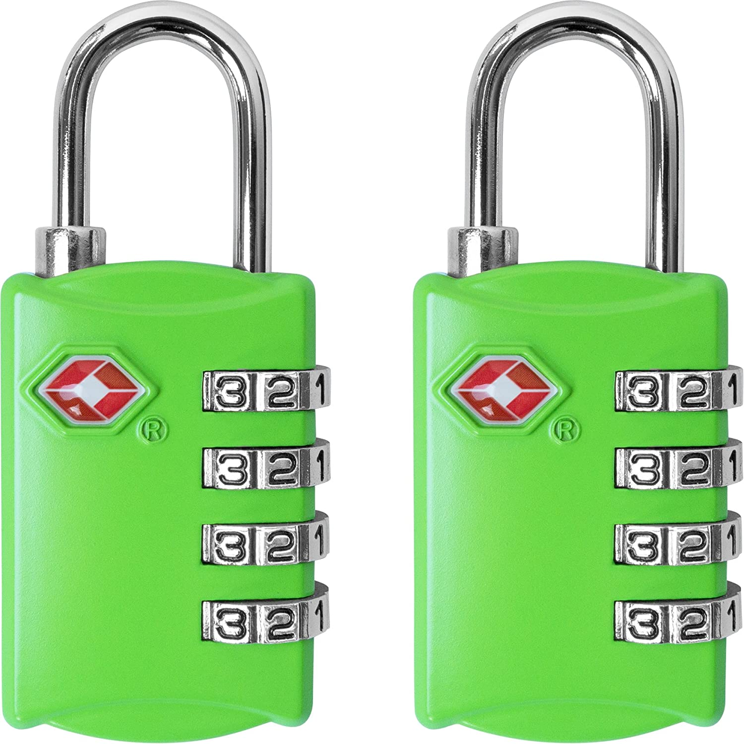 36804441ba81 TSA Luggage Locks (2 Pack) - 4 Digit Combination Steel Padlocks - Approved  Travel Lock for Suitcases & Baggage - Green