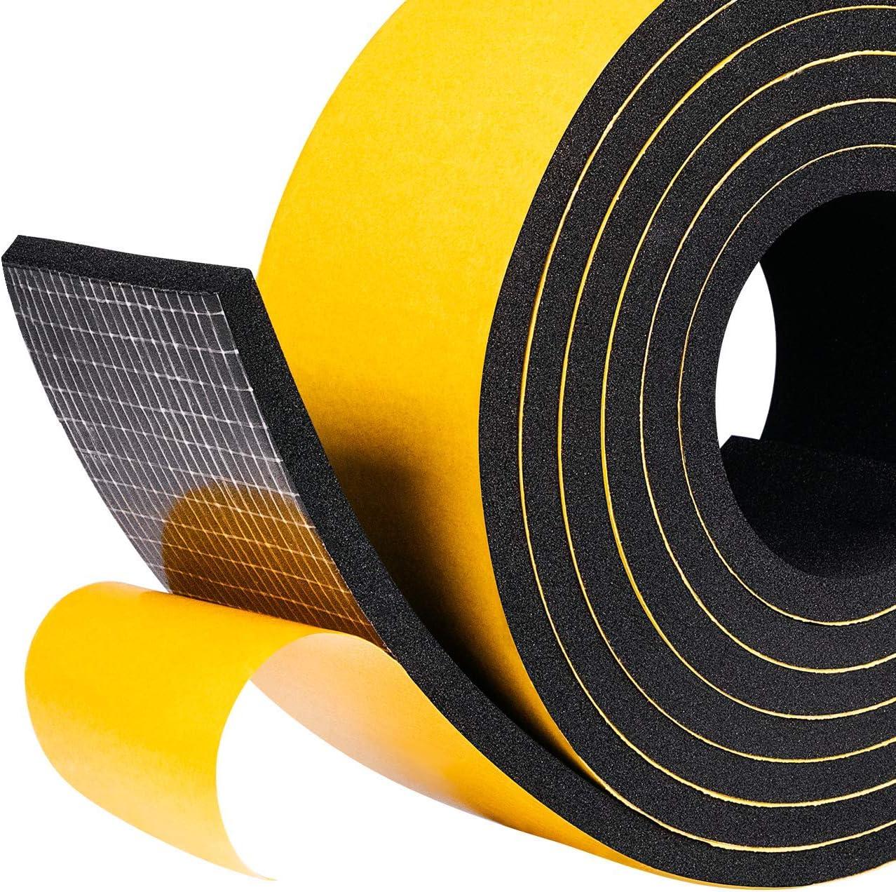 Fowong - Cinta adhesiva de espuma para puerta de casa o ventana cerrada, sello de tira del clima, sistema de aislamiento acústico, color amarillo