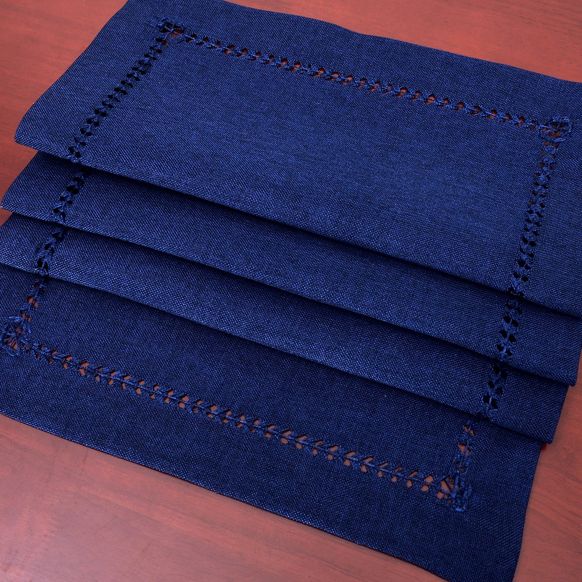 GRELUCGO Handmade Hemstitch Navy Blue Rectangular Table Runner Or Dresser Scarf (14 x 72 Inch) by GRELUCGO (Image #3)