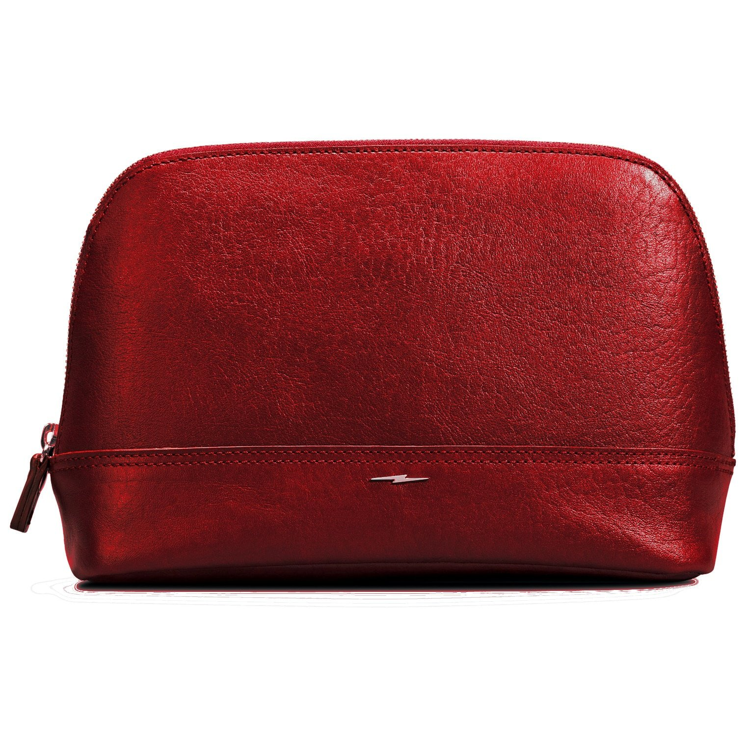 Shinola Premium Genuine Leather Large Cosmetic Makeup Bag Pouch Travel Organizer Toiletry Clutch Chili