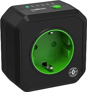 ANSMANN Enchufe con temporizador con 6 programas AES 1 Zero - Programas desde 15 min hasta 8h - Carga máx. 2500W / 10A - Negro y verde