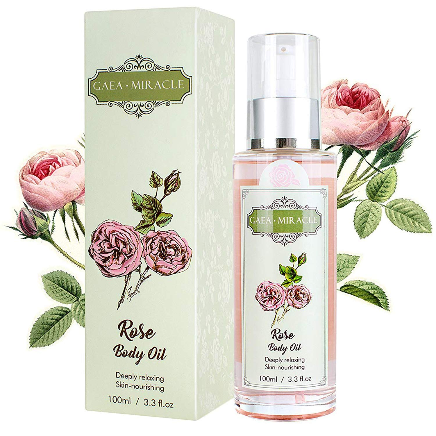 GAEA MIRACLE - Body Oil Body Lotion Moisturizing Oil, Organic Blend of Rose Olive Oil with Vitamin E - Daily Moisturizing for Face and Full Body - for Sensitive/Dry Skin 3.3 Fl.oz by GAEA MIRACLE