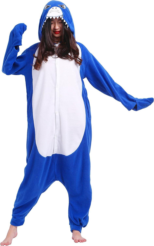 Magicmode Unisex Cosplay Disfraces De Animales Kigurumi Pijamas Adultos Enterizo Anime Sudadera con Capucha Ropa De Dormir De Tiburón Azul S