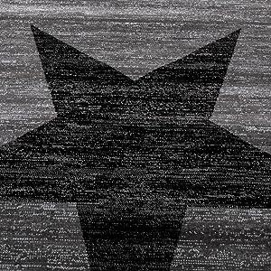 Paco Home Alfombra De Diseño con Estampado Moderno De Estrella De Velour Corto Mezclada En Gris Y Negro, tamaño:200x280 cm
