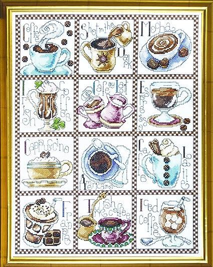 Amazon.com: De punto de cruz, diseño de, Coffee Break, 12 ...