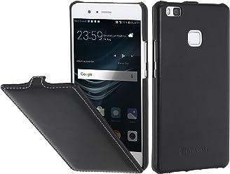 StilGut UltraSlim Case, Custodia in Pelle per Huawei P9 Lite, Nero Nappa