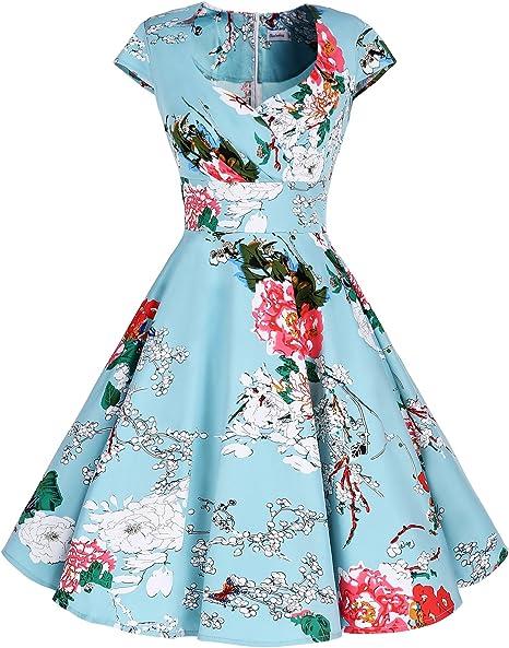 TALLA M. Bbonlinedress Vestido Corto Mujer Retro Años 50 Vintage Escote Green Flower