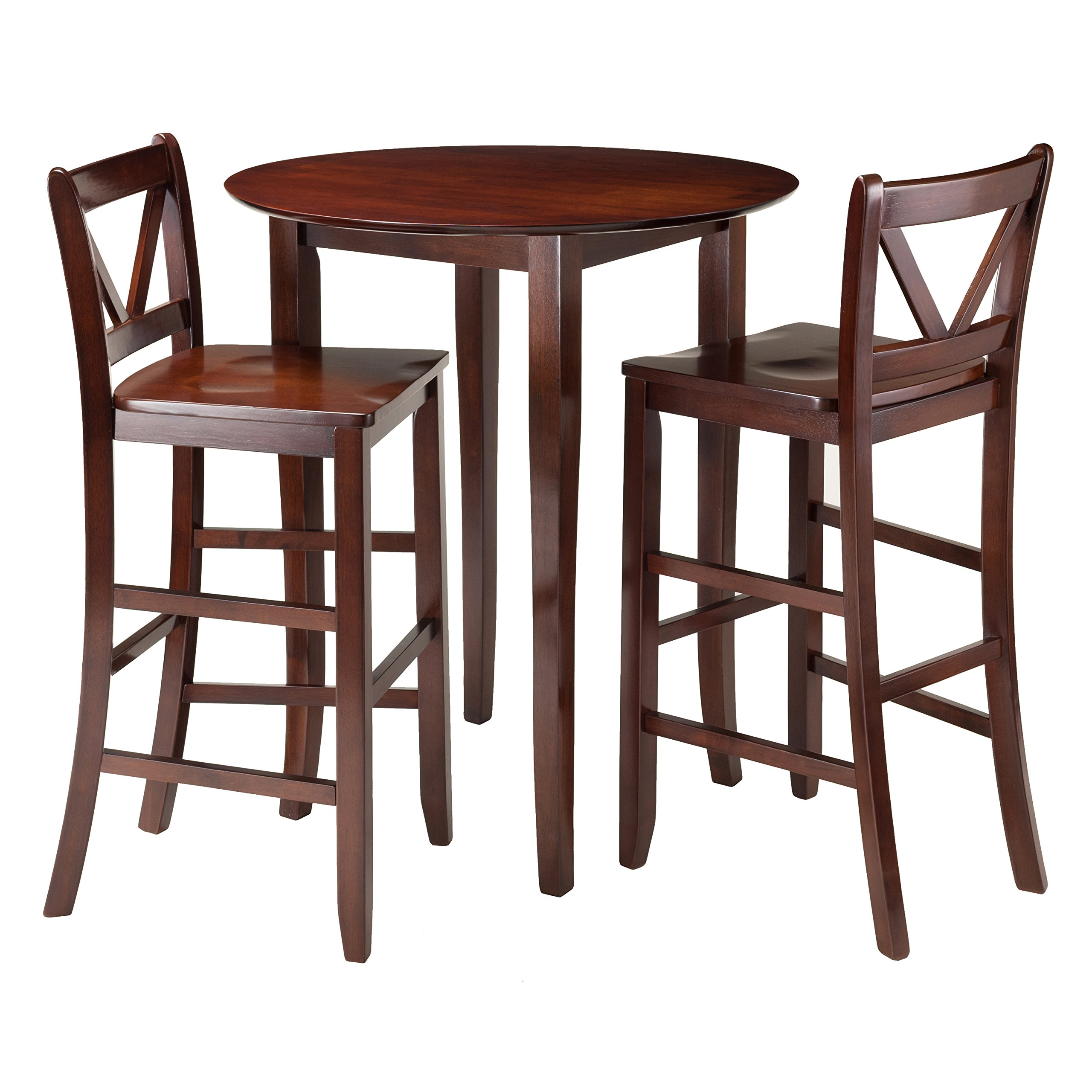Winsome 3-Piece Fiona High Round Table with 2 Bar V-Back Stool, Brown