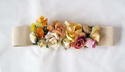 código promocional 69f57 49936 Cinturon elástico beige con adorno de flores. Envío GRATIS ...