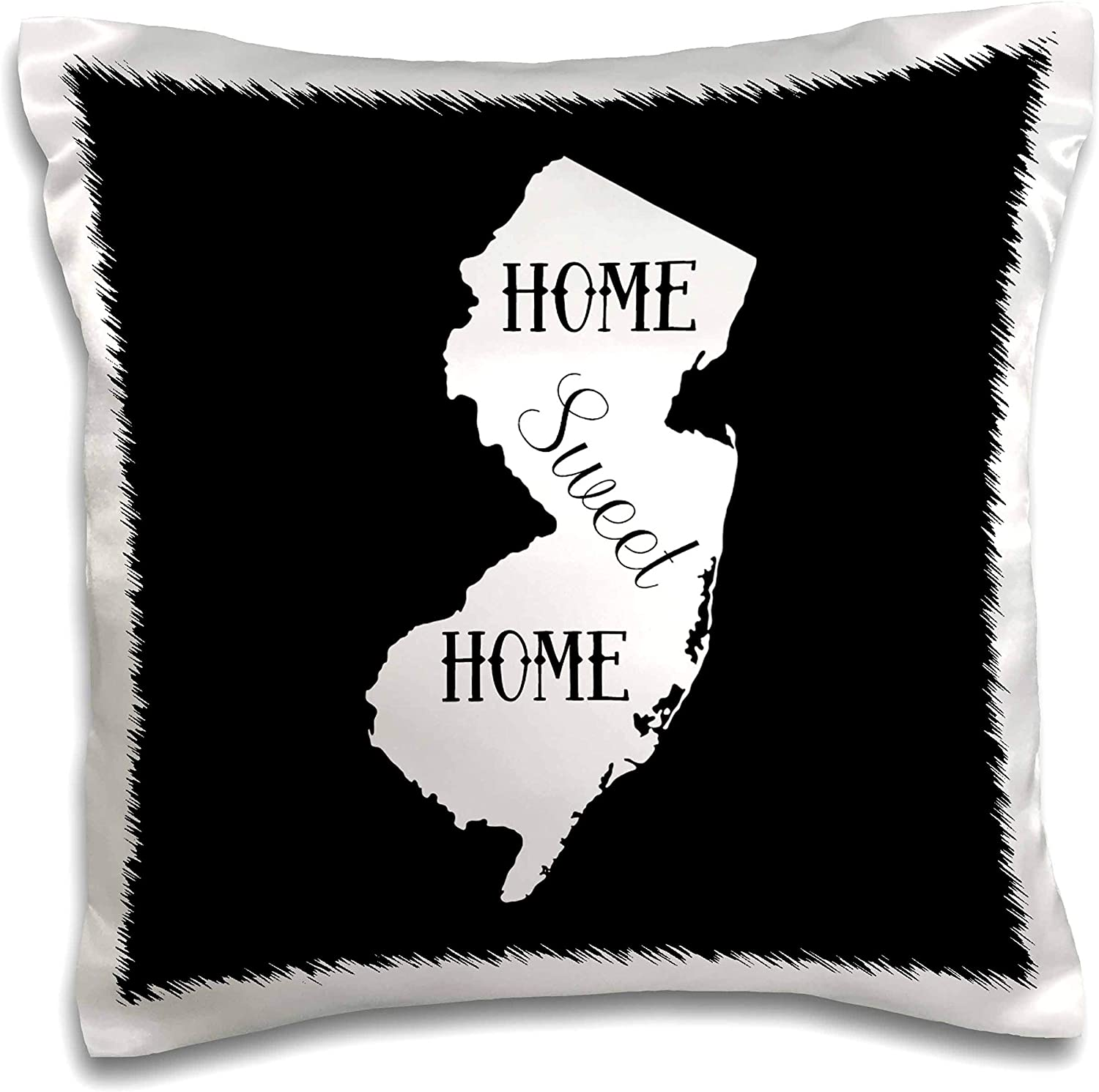 3dRose Stamp City - typography - Home Sweet Home inside the state of New Jersey. Black background. - 16x16 inch Pillow Case (pc_324154_1)