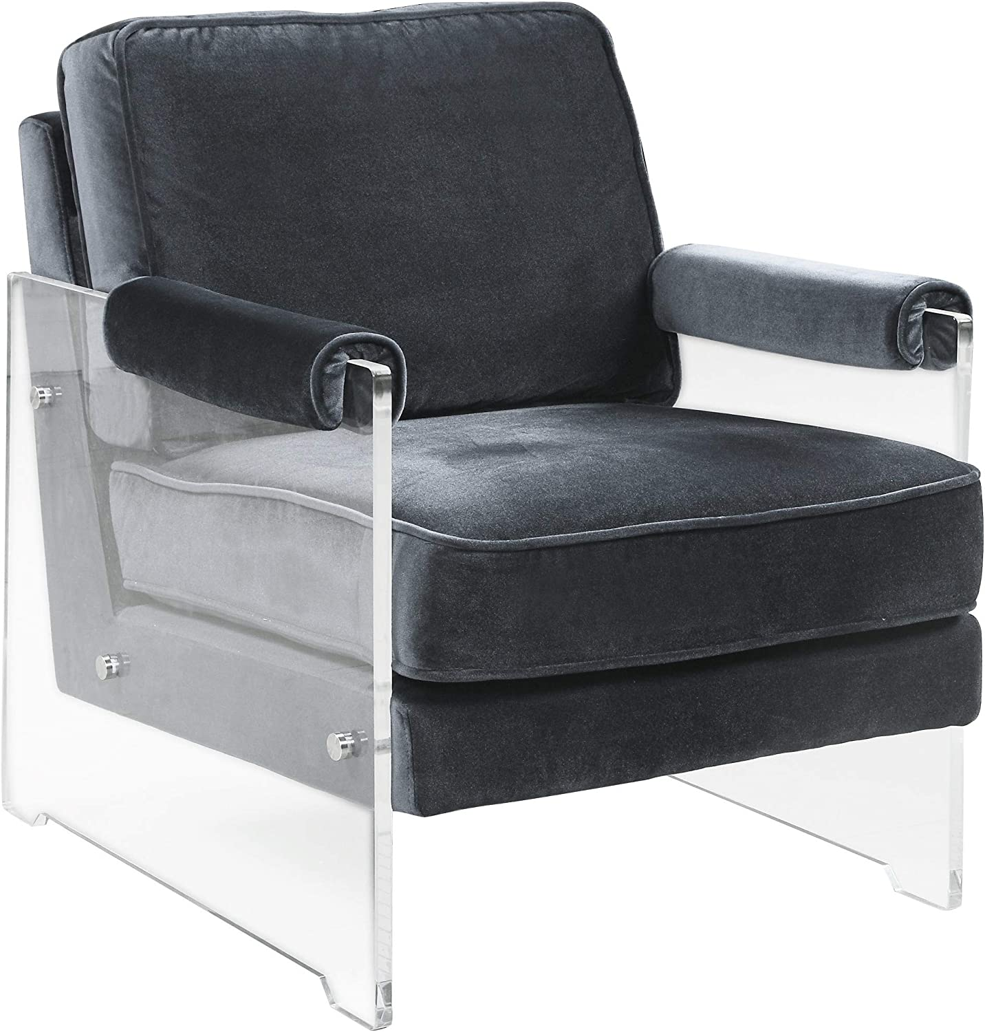 Chic Home Emman Modern Clear Acrylic and Velvet Accent Chair Grey