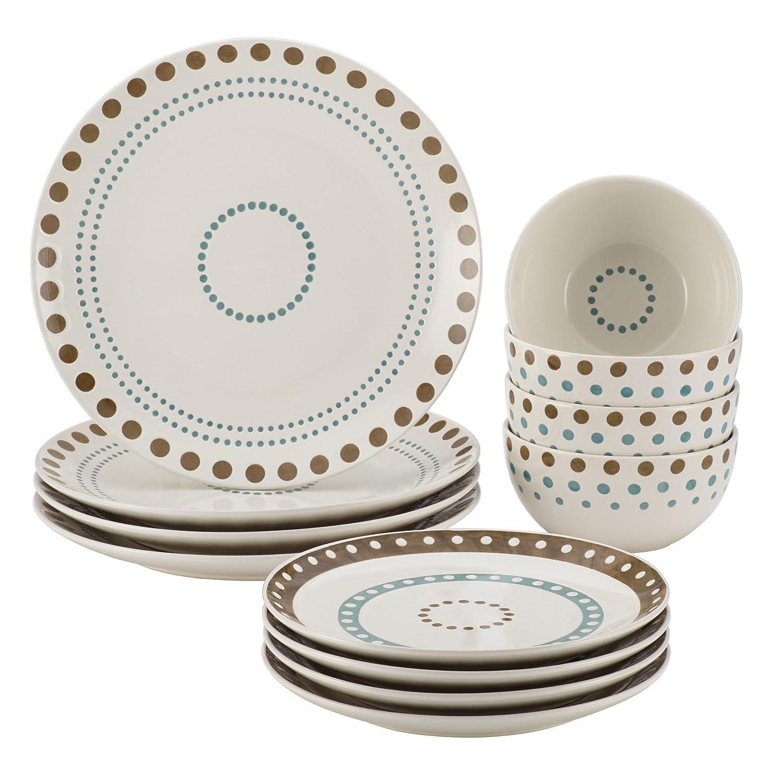 Amazon.com | Rachael Ray Cucina Circles and Dots 12-piece Stoneware ...