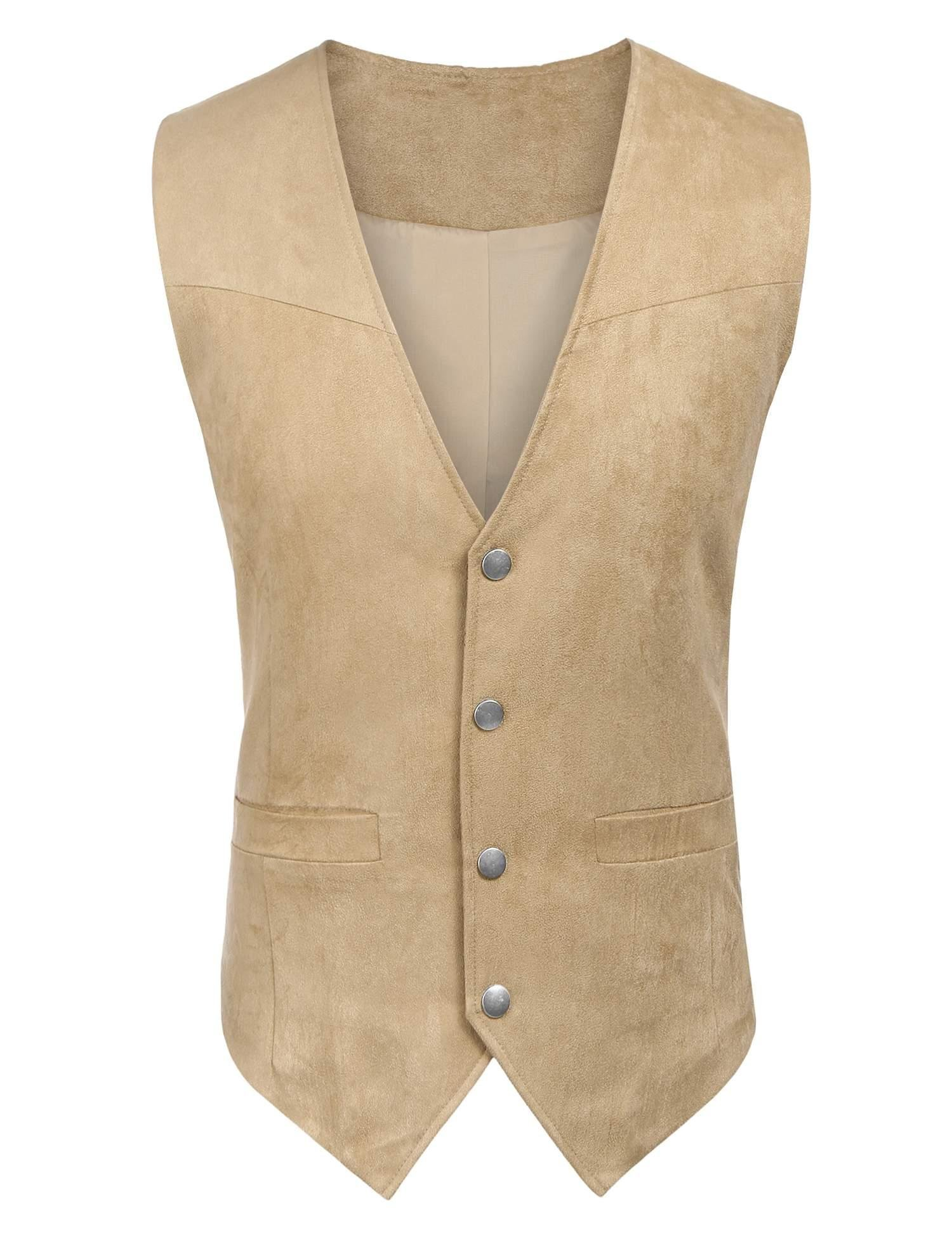 Edited Mens Faux Suede Vest Dress Suit Vest Formal Waistcoat for Wedding by Edited (Image #3)