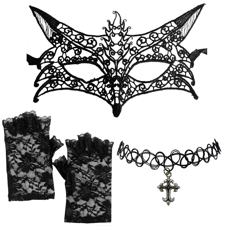 Fancy DressBlack Venetian Lace Fox Mask + Cross Choker + Fingerless Gloves DangerousFX