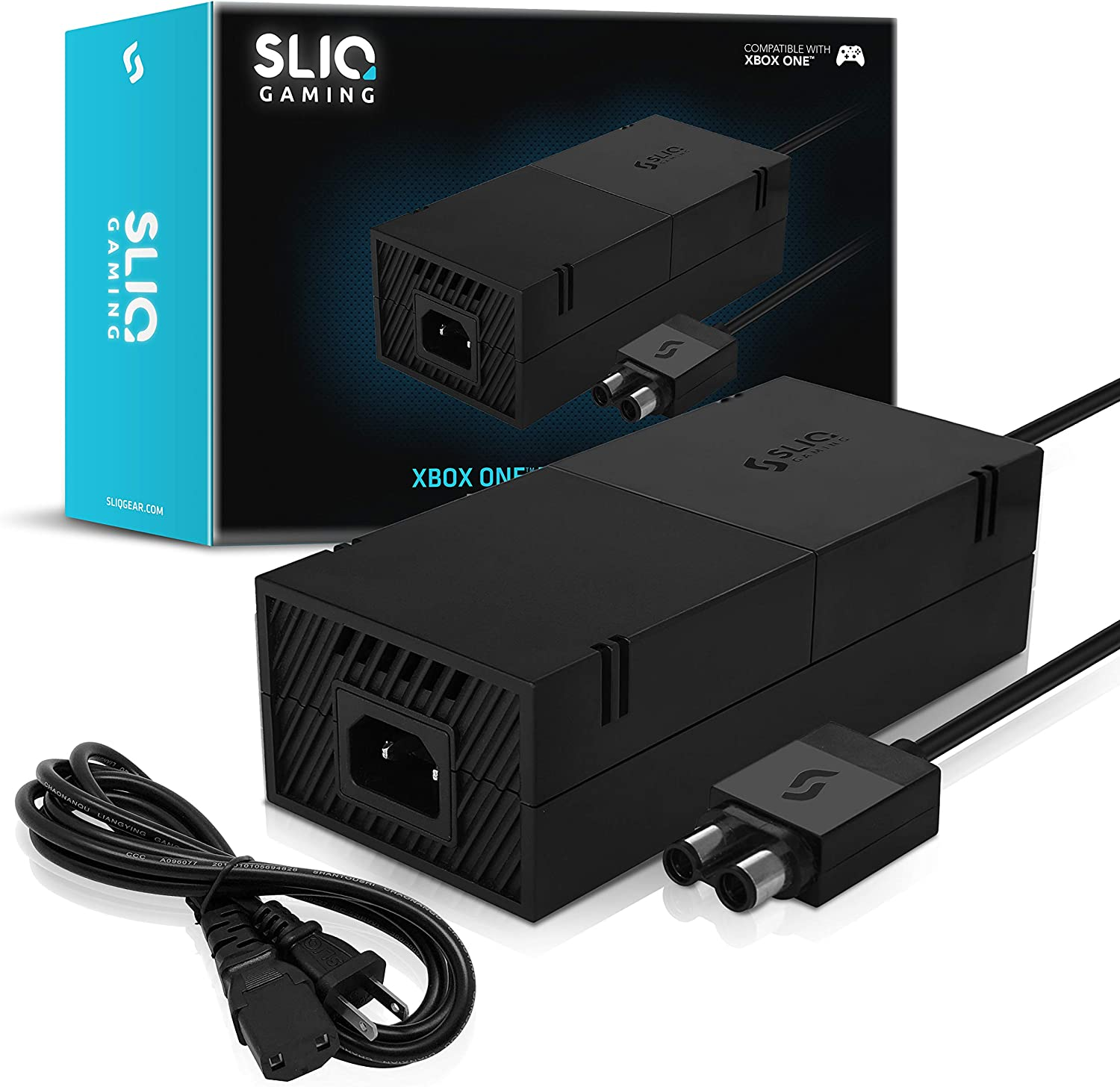 Sliq Gaming Xbox One Power Supply Brick with Power Cable Replacement for Xbox One - 100-240V Auto Voltage - Includes 1-Year Warranty
