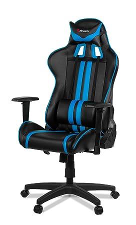 Arozzi Medio Silla Gaming, Piel sintética, Negro Azul, 70 x 60 x 90 cm, 5 Unidad: Amazon.es: Hogar