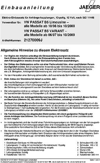Anh/ängevorrichtung Jaeger 21270534 Elektrosatz
