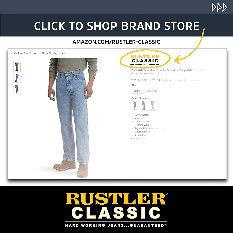5c38a03c Rustler Classic Men's Classic Regular Fit Jean at Amazon Men's Clothing  store: