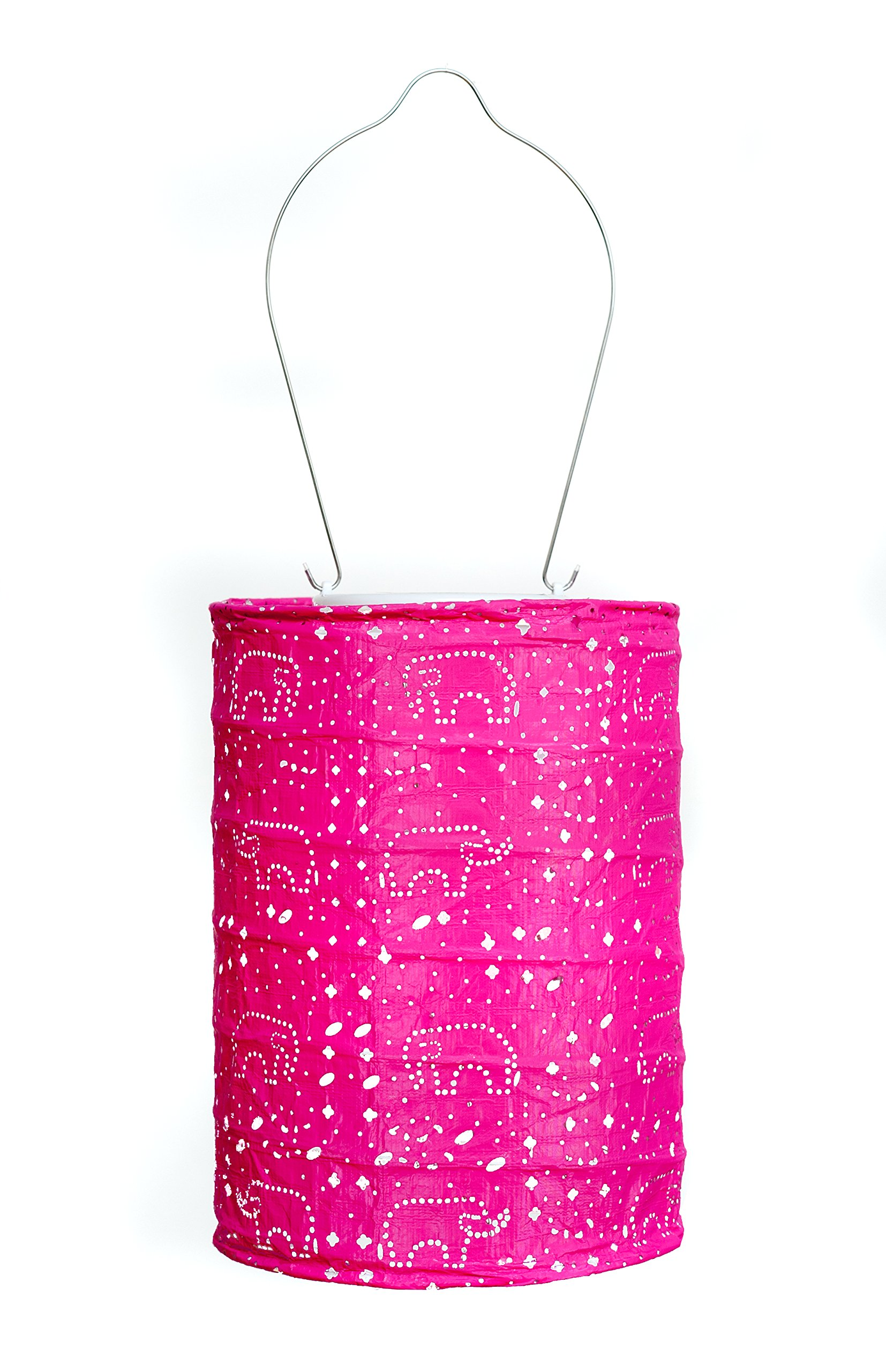 Allsop Home and Garden Soji Stella Dream LED Outdoor Solar Lantern, Handmade with Weather-Resistant UV Rated Tyvek Fabric, Stainless Steel Hardware, Auto sensor on/off,  for Patio, Deck, Garden, Color (Raspberry)