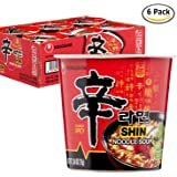 Nongshim Shin Spicy Ramen Instant Gourmet Cup Noodle (Pack of 6)