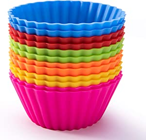 Silicone Baking Cups, SAWNZC Reusable Cupcake Liners Non-stick Muffin Cups Cake Molds Cupcake Holder, 12 Packs in 6 Rainbow Colors