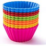 Silicone Baking Cups, Reusable Cupcake Liners Nonstick Muffin Cups Cake Molds Cupcake Holder, 12 Packs in 6 Rainbow…