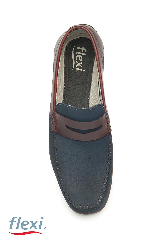 Flexi Shoes Mocasines de Piel Para Hombre Negro Negro 40 EU, Color Azul, Talla 41: Amazon.es: Zapatos y complementos