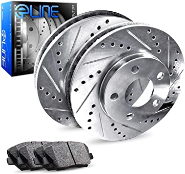 R1 Concepts KEDS11550 Eline Series Cross-Drilled Slotted Rotors And Ceramic Pads Kit Front