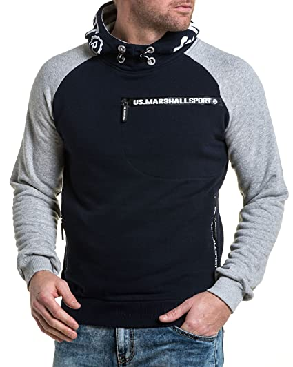official store promo code first rate US Marshall - Sweat Homme Navy Sport Capuche et Poches ...