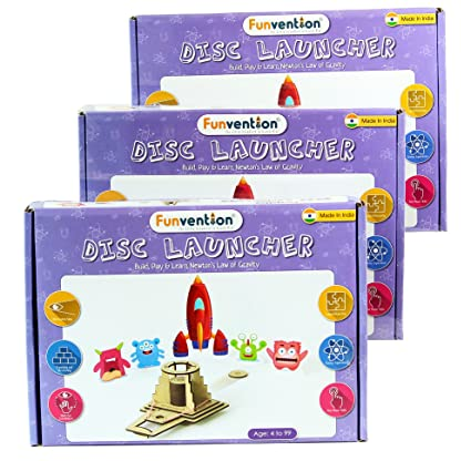 Buy funvention pack of 3 disc launcher diy science educational funvention pack of 3 disc launcher diy science educational toy stem learning solutioingenieria Images