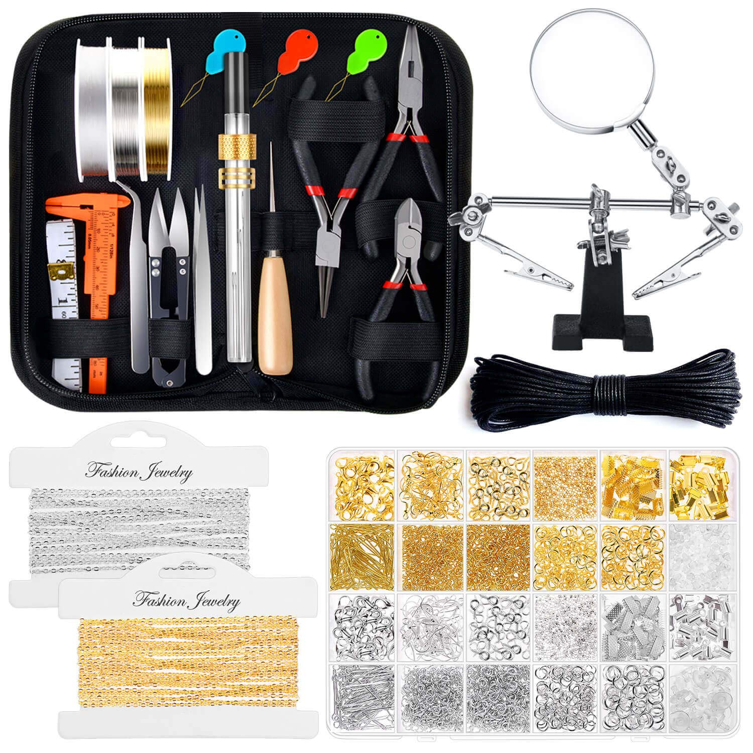 Jewelry Making Kits for Adults, Shynek Jewelry Making Supplies Kit with Jewelry Making Tools, Earring Charms, Jewelry Wires, Jewelry Findings and Helping Hands for Jewelry Making and Repair