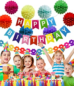 ADLKGG Happy Birthday Party Decorations Banner with Colorful Honeycomb Tissue Paper Pom Pom Flowers Balls, Paper Tassel Garland, Rainbow Paper Garland for Baby Shower Supplies Mexican Fiesta Party