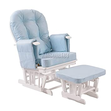 Attrayant FoxHunter Nursing Glider Maternity Rocking Chair With Footstool White Wood  Frame Blue Cushion Cover