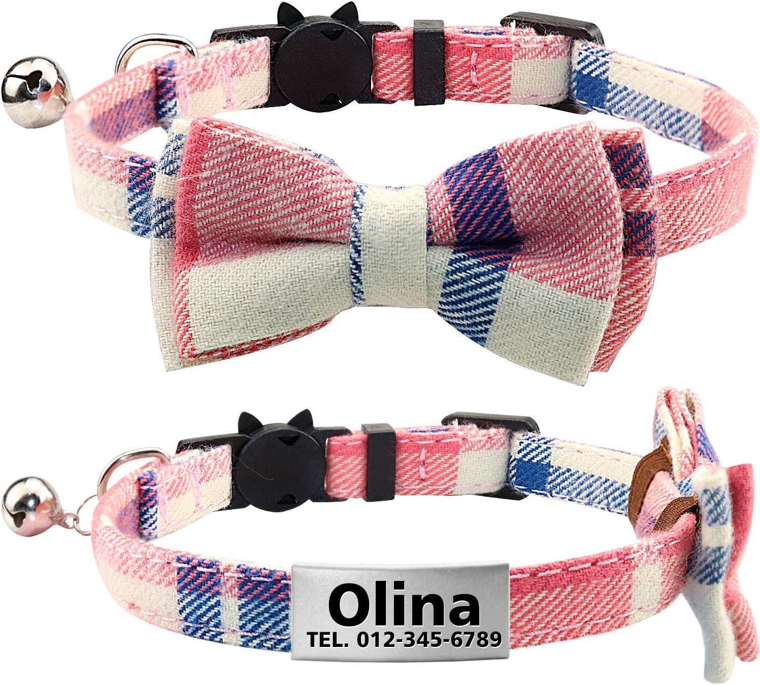 TagME Collar de Gato Personalizado con Pajarita & Campana, Placa de Identificación de Acero Inoxidable Grabada con Nombre & Número de Teléfono,Rosa