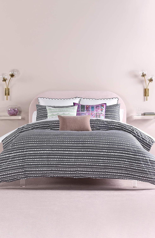 Kate Spade New York Scallop Row Full/Queen Duvet Set Bedding, Charcoal