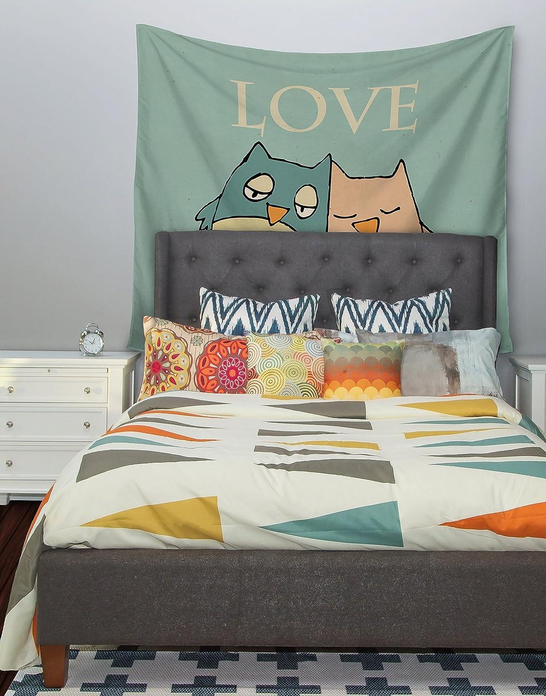 68 X 80 Kess InHouse Carina Povarchik Lechuzas Love Owls Green Wall Tapestry