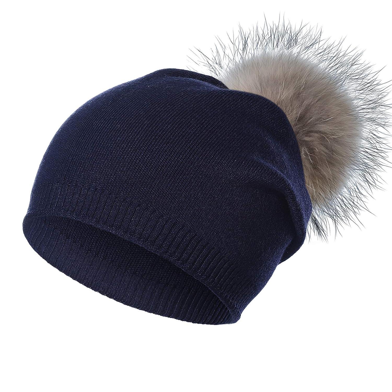 Kajeer 90% Wool Knit Pom Slouchy Beanie Hat for Women