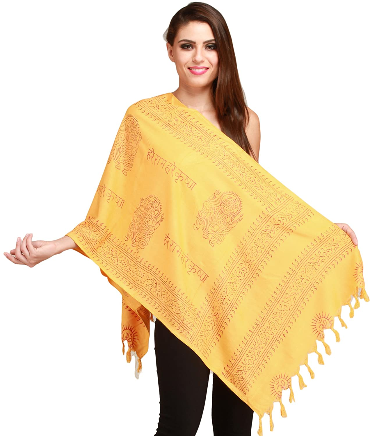 Exotic India Pale-Marigold Sanatana Dharma Prayer Scarf of Lord Ganesha - Yellow SRB70