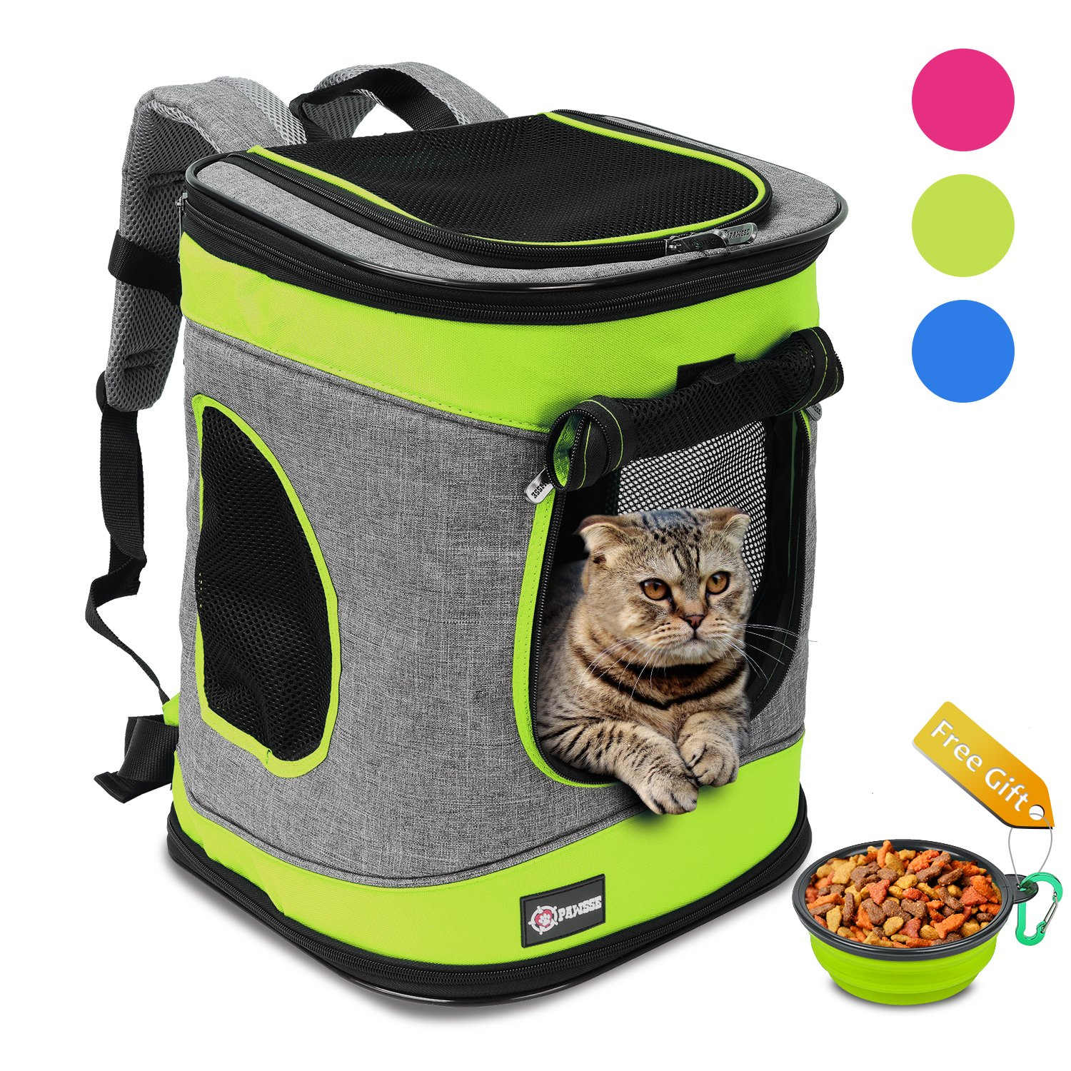 Pawsse Comfort Pet Carrier Backpack for Cats and Dogs up to 15 LBS Airline-Approved Travel Carrier for Pets Hiking, Walking, Cycling & Outdoor Use 16'' H x13.2 L x12 Green