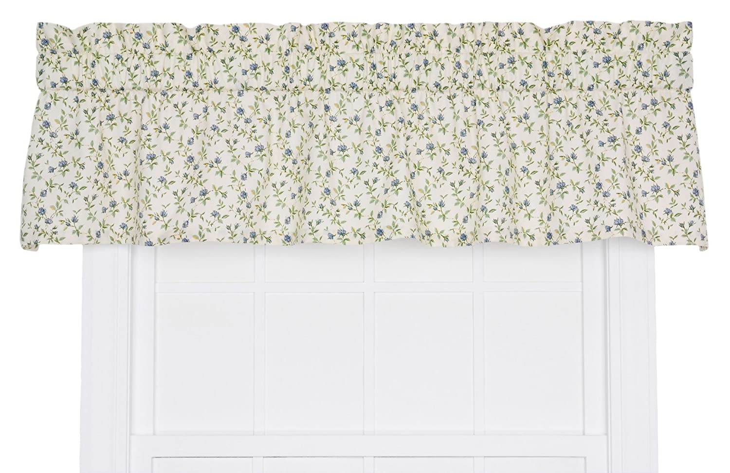 Ellis Curtain Marcia Floral Vine Print Tailored Window Treatment Valance, 70 by 12-Inch, Blue